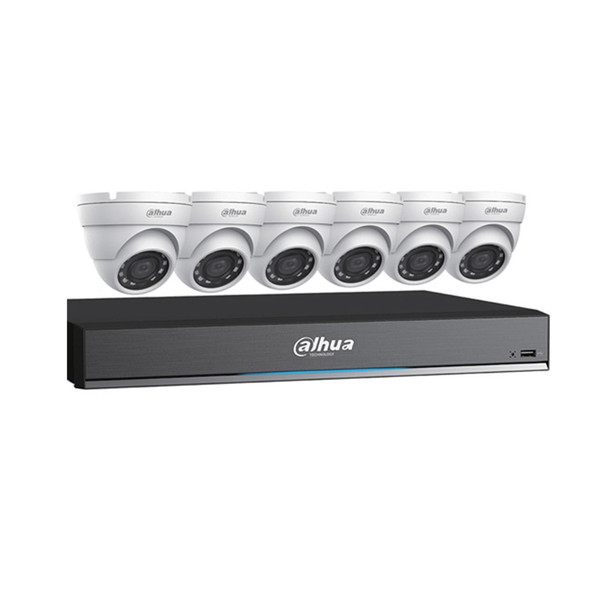 Dahua C785E63 HD-CVI Security System, 6 Camera, Outdoor, 5MP, 3TB Storage, Night Vision