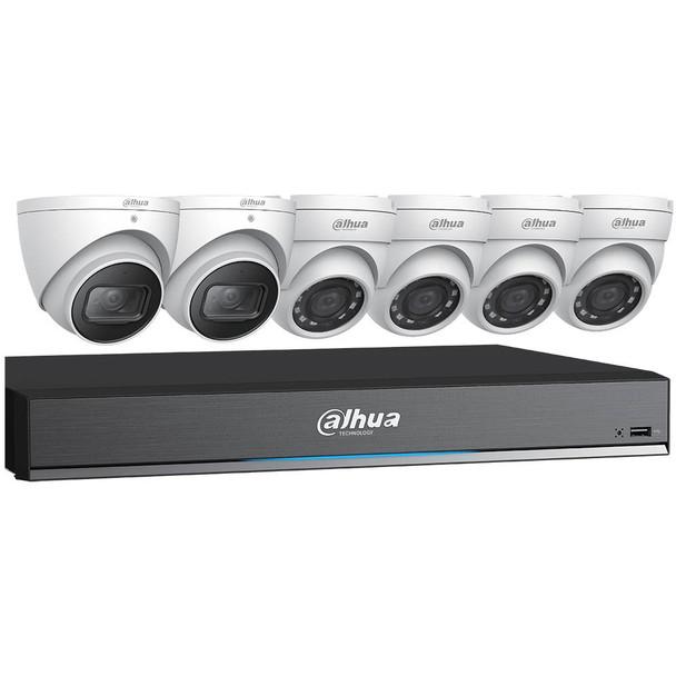 Dahua C788E63 4K HD-CVI Security System, 4+2 Camera, Outdoor, 5MP+8MP, 3TB Storage, Night Vision