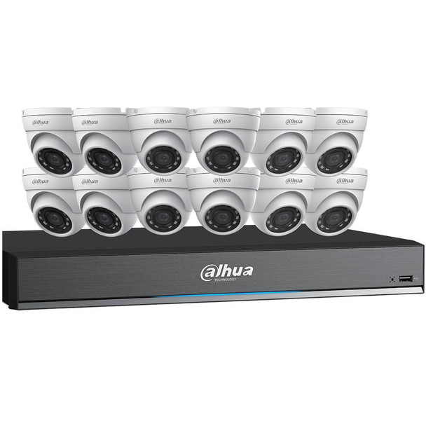 Dahua C7165E124 HD-CVI Security System, 12 Camera, Outdoor, 5MP, 4TB Storage, Night Vision