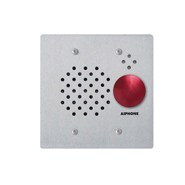 Aiphone IE-SSR Vandal and Weather Resistant 2-Gang Door Station with Red Mushroom Button, Flush Mount Stainless Steel