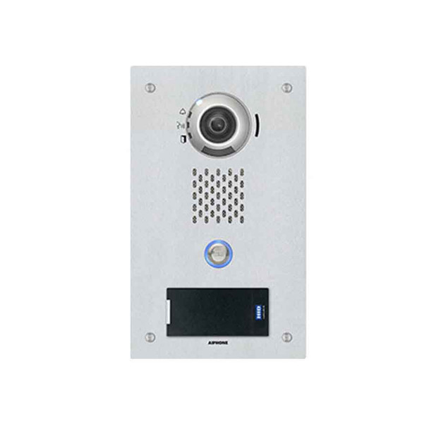 Aiphone IX-DVF-P SIP Compatible Flush Mounted IP Video Door Station - Vandal Resistant Stainless Steel Faceplate with HID multiCLASS Reader
