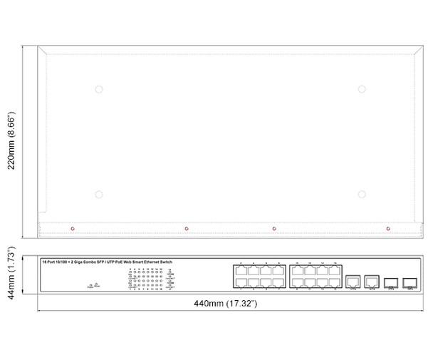 Geovision GV-POE1601-V2 16-Port 802.3at Web Management PoE Switch
