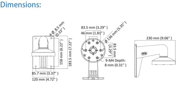 LTS LTB344-135 Wall Mount Bracket for CMIP38xx