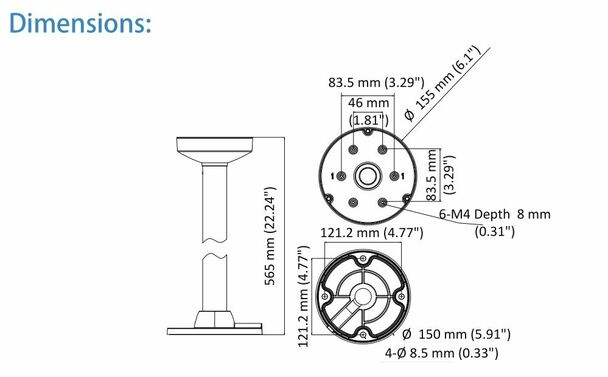 LTS LTB781 Pendant mount for CMIP78xx