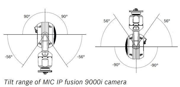 Bosch MIC-9502-Z30BVF 640x480 Thermal/Optical H.265 PTZ IP Security Camera tilting angles