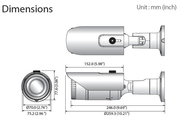Samsung Hanwha QNO-6022R 2MP IR H.265 Outdoor Bullet IP Security Camera Dimension