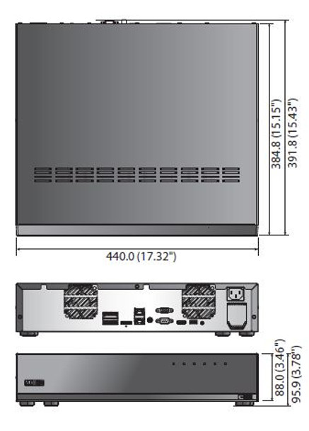 Samsung Hanwha XRN-3010A 64 Channel Network Video Recorder Dimensions