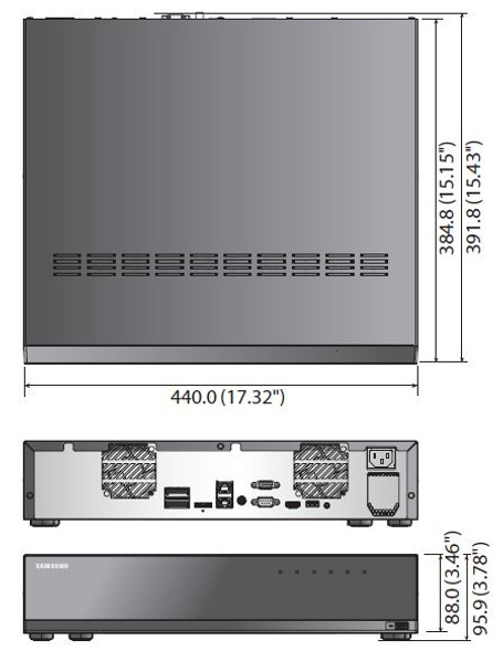 Samsung Hanwha XRN-2010A 32 Channel 4K Network Video Recorder Dimensions