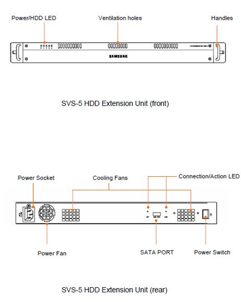 Samsung Hanwha SVS-5E-1TB HDD Extension Unit Drawings