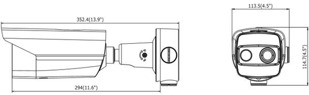 LTS CMIP9T221-3M 160x120 Thermal & Optical IR Bullet IP Security Camera dimensions