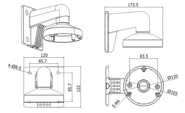 LTS LTB742-120 Wall Mounting Bracket for Mini Dome Cameras
