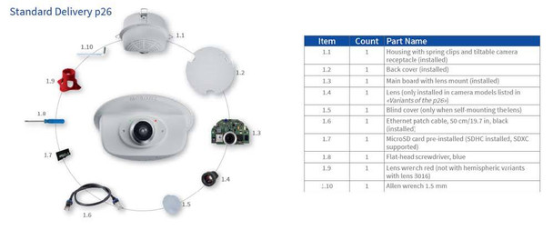 Mobotix MX-P26B-AU-6D 6MP Indoor IP Security Camera - Body only, Day Sensor with Audio Pack