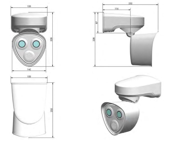 Mobotix Mx-M73A-RJ45 4K Outdoor IP Security Camera (Body only) with Mobotix 7 Platform Dimensions