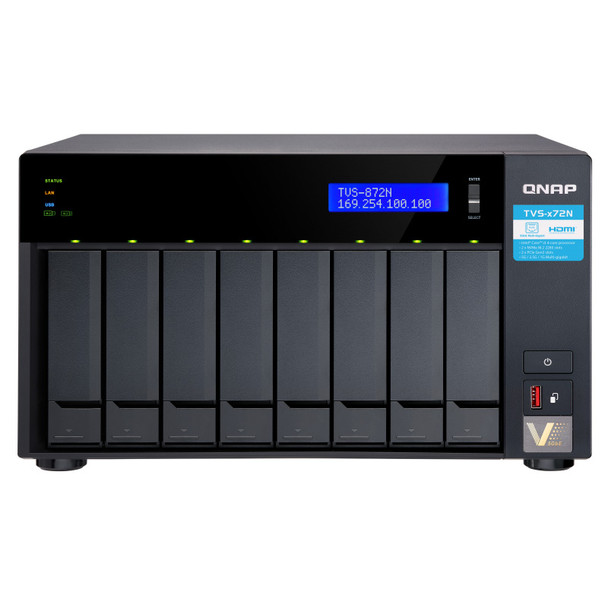 QNAP TVS-872N-i3-8G-US Cost-effective Diskless 8 Bay NAS with Intel i3 and 8GB DDR4 RAM