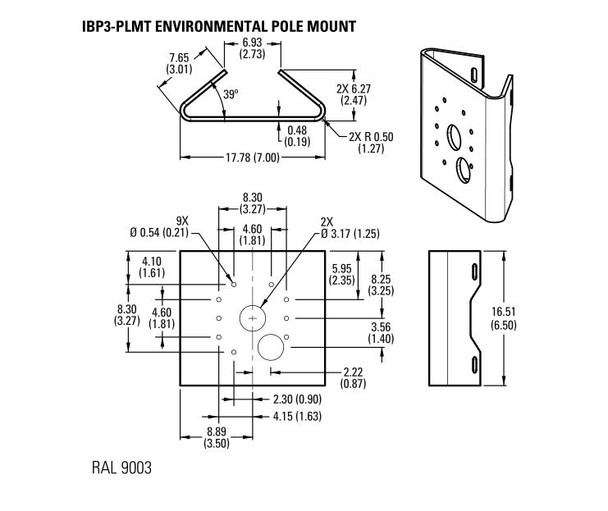 Pelco IBP3-PLMT Environmental Pole Mount