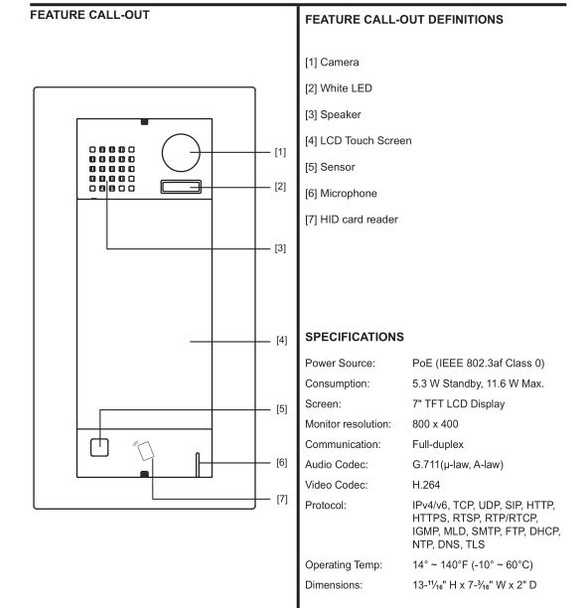Aiphone IXG-DM7-HID IP Video Entrance Station with HID Reader
