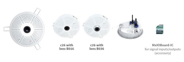 Mobotix MX-C26B-AU-6N016 6MP Indoor Fisheye IP Security Camera with Night Lens, Audio Pack