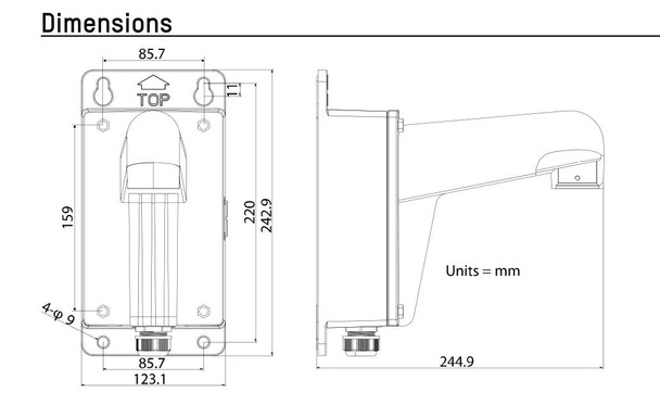Hikvision WMLB Wall mount with Junction Box (Long, Black)