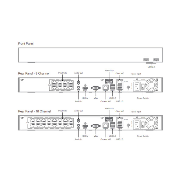 Arecont Vision AV-CN800-8T 8 Channel 4K Cloud Managed Network Video Recorder with 8-Port PoE, 8TB HDD