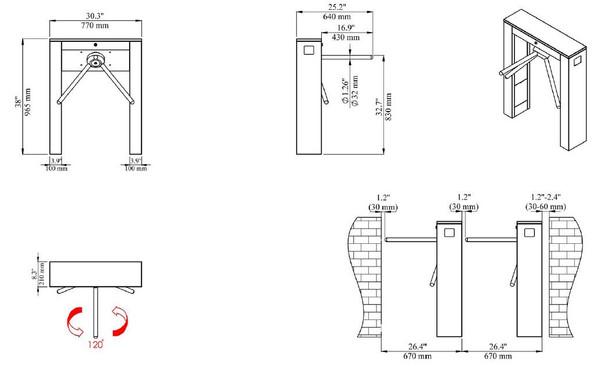 Waist Height Double Leg Turnstile TS-21-D Dimensions