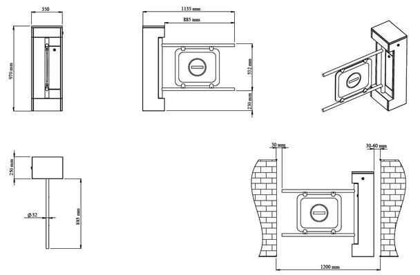 Motorized Bi-directional Swing Gate Turnstile SWG-25 Dimensions