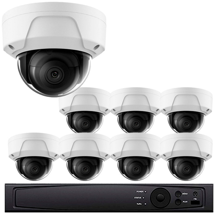 Dome IP Security Camera System, 8 Camera, Outdoor, 4MP Full HD, 2TB Storage, Night Vision, LTN8708-D4W