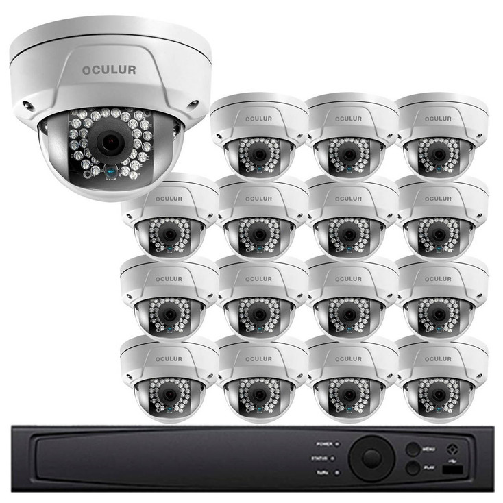 Dome IP Security Camera System, 16 Camera, Outdoor, 4MP Full HD, 4TB Storage, Night Vision, LTN8716-D4W
