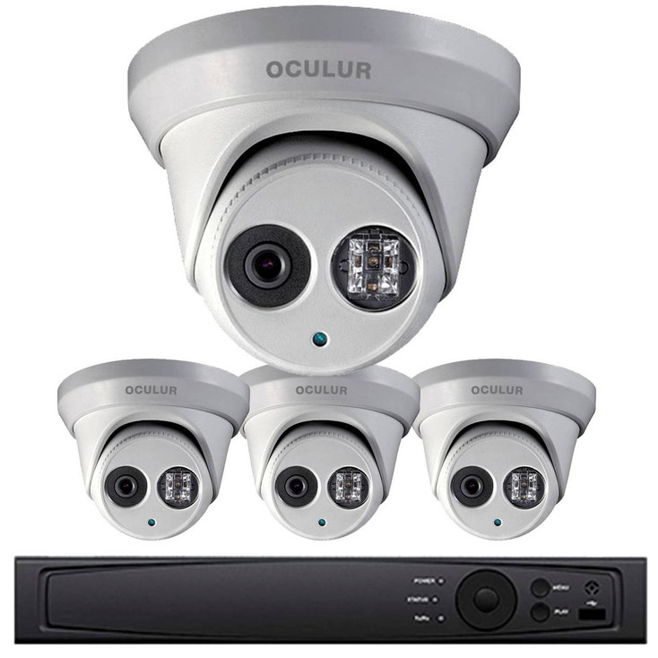 Turret IP Security Camera System, 4 Camera, Outdoor, 4MP Full HD, 1TB Storage, Night Vision, LTN8704-B4W