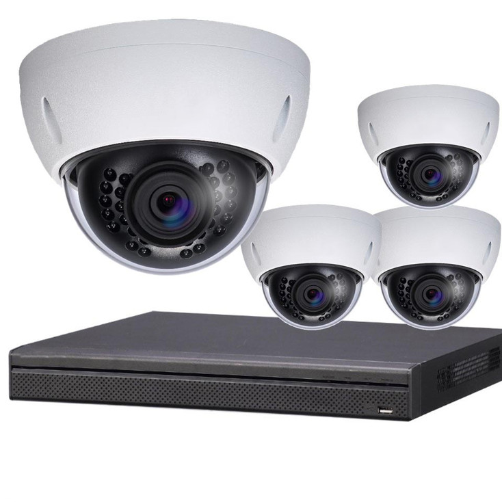 4-Camera 4K Indoor/Outdoor Dome IP Security Camera System
