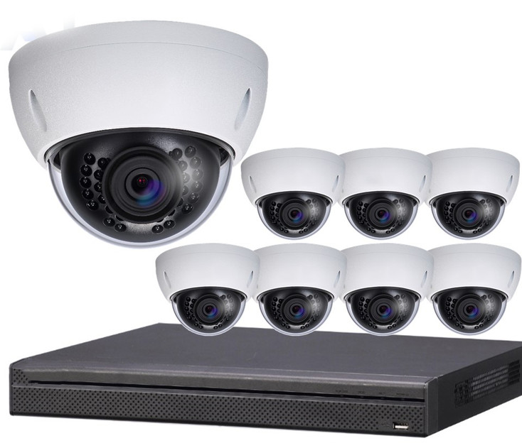 8-Camera 4K Indoor/Outdoor Dome IP Security Camera System 8-HDBW-SYS