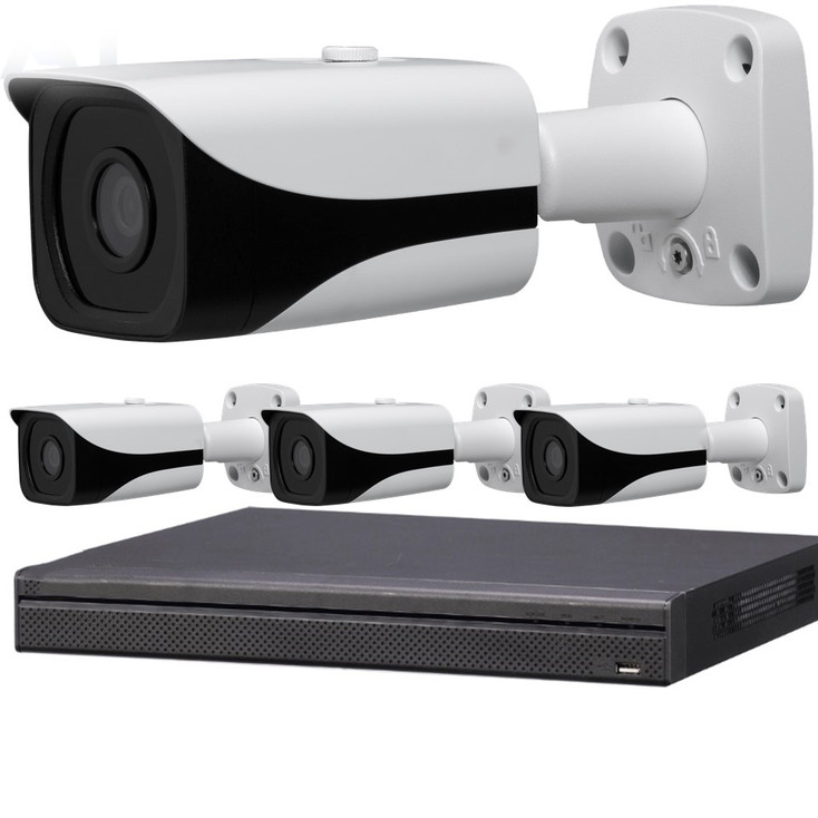 4-Camera 4K Indoor/Outdoor Bullet IP Security Camera System