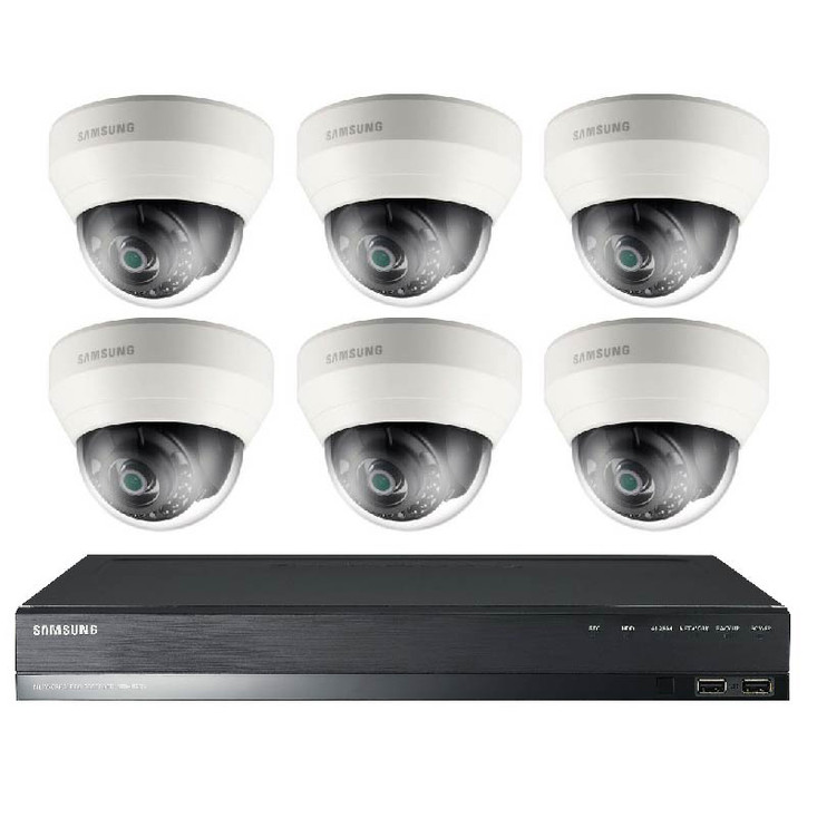 Samsung SRK-4060S 6-Camera 2MP Dome IP Security Camera System - 3.6mm Fixed Lens, 2TB Pre-Installed, 8 Channel NVR Kit