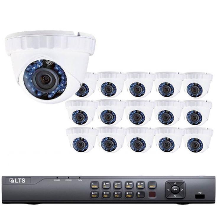 16-Camera 720p Turret HD CCTV Security Camera System - 1MP Sensor, 3.6mm Lens, Day/Night, Weatherproof, 3TB Pre-Installed, LTD08161DK-3TB