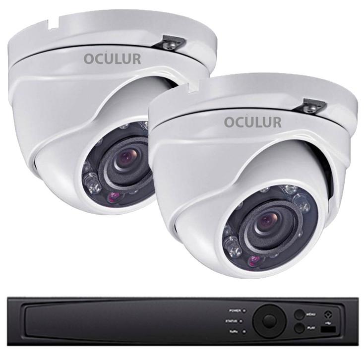 2-Camera 1080p Full HD Turret Outdoor CCTV Security Camera System - Night Vision, True Day/Night, Weatherproof