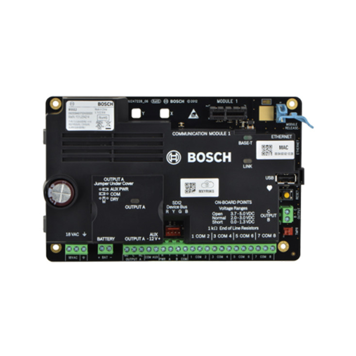 Bosch B5512 Control Panel - Supports up to 48 points, 3 on-board outputs, and 4 areas for intrusion, residential fire, On-board Ethernet