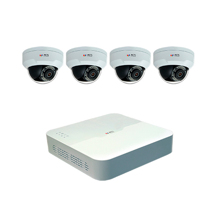 ACTi ZNR-120P-K1 4-Channel NVR 4x 4MP Dome H.265 IP Security Camera System