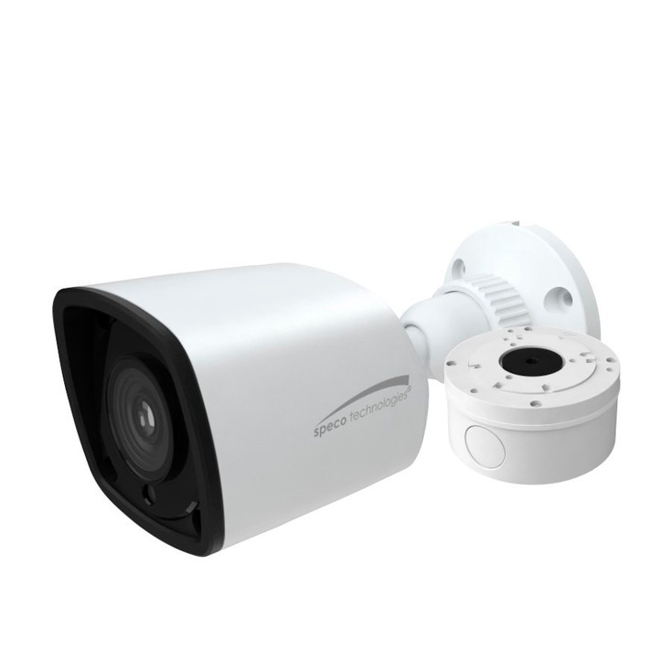 Speco O4VLB5 4MP IR H.265 Indoor/Outdoor Bullet IP Security Camera - Speco Cloud Enabled, with Junction Box