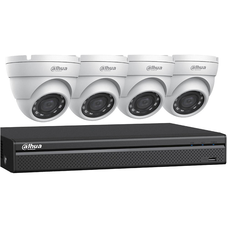 Dahua C542E42 HD-CVI Security System, 4 Camera, Outdoor, Full HD 1080p, 2TB Storage, Night Vision