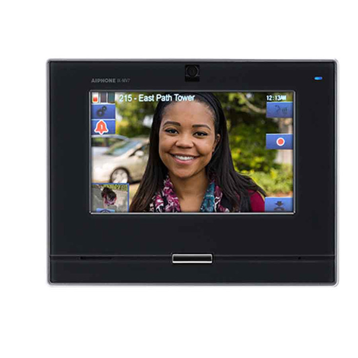 """Aiphone IX-MV7-HB SIP Compatible IP Video Master Station - 7"""" Touchscreen and Privacy Handset (Black)"""