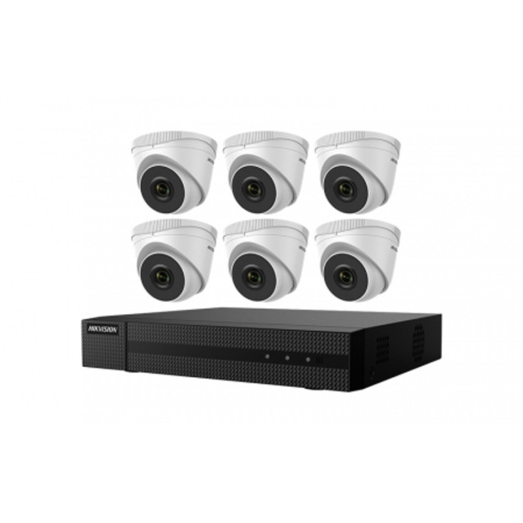 Hikvision EKI-Q82T26 6-Camera Outdoor IP Security Camera System, 2MP,  2.8mm Lens, Night Vision, 2TB Storage