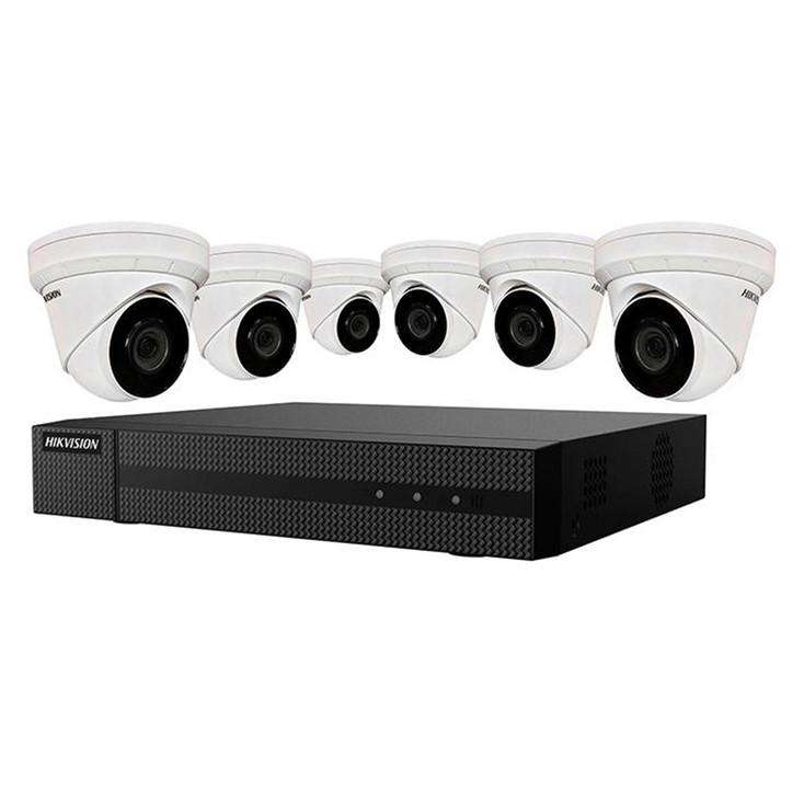 Hikvision EKI-K82T46 6-Camera IP Security Camera System, 4MP, Outdoor, Turret, 8 Channel NVR