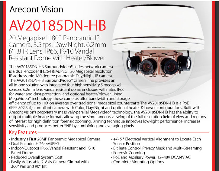 Arecont Vision AV20185DN-HB 180° 20MP Dome IP Camera - Day/Night, Heater