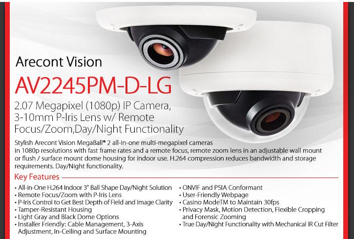 Arecont Vision AV2245PM-D-LG MegaBall 2 1080P HD Dome IP Camera