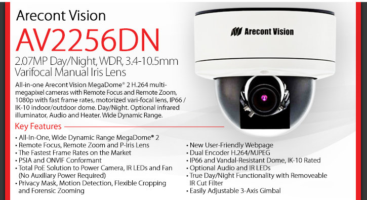 Arecont Vision AV2256DN Network Camera - 2.07MP, Day/Night, WDR, Varifocal Iris Lens, H.264, Infared Illuminator, Wide Dynamic Range