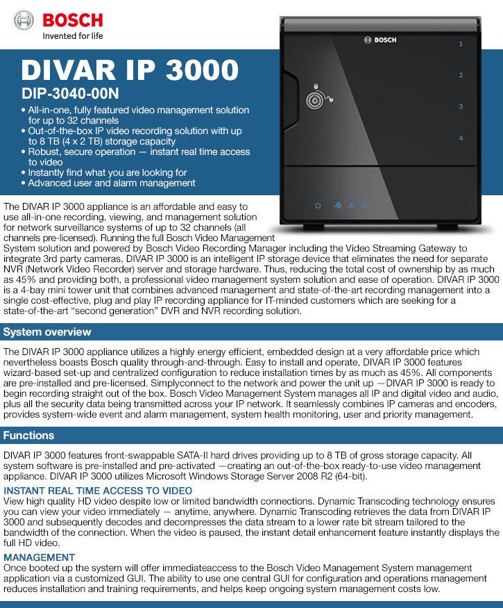 Bosch DIP-3040-00N Divar IP 3000 32ch NVR - No HDD, 4-Bay