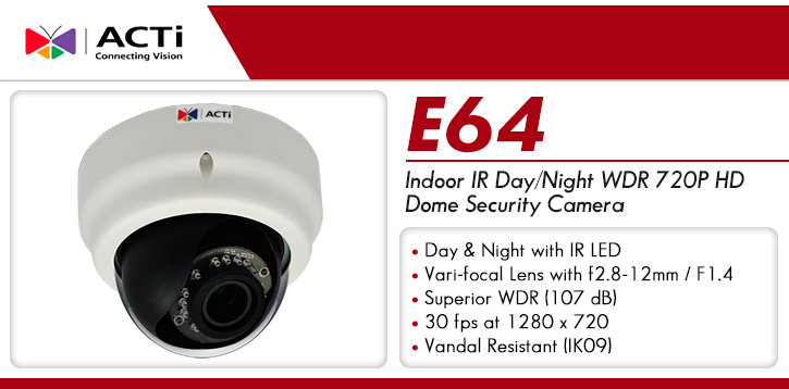 acti e64 indoor ir day/night wdr 720p hd dome security camera