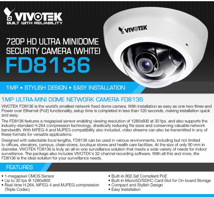 vivotek fd8136-f2-w 720p hd ultra minidome security camera - white