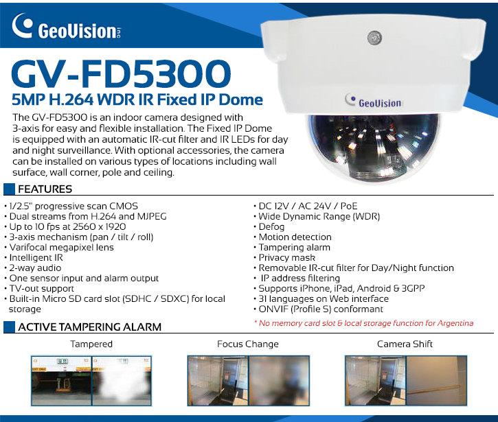 Geovision GV-FD5300 5MP Indoor IR Dome IP Security Camera