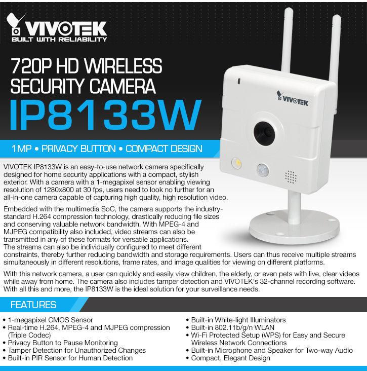 vivotek ip8133w 720p hd wireless security camera