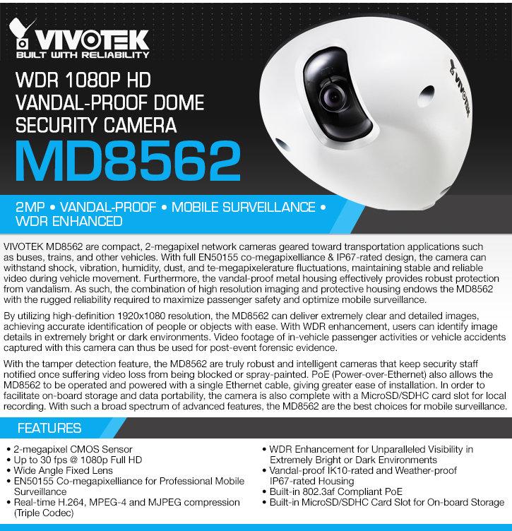 vivotek md8562 wdr 1080p hd vandal-proof dome security camera